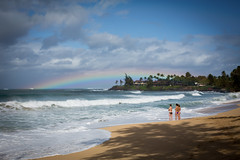 Rainbow (paul.wienerroither) Tags: ocean blue girls light sky beach nature colors clouds canon landscape photography 50mm hawaii rainbow paradise surf waves view surfer maui paia