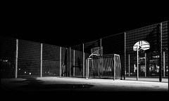 night-time soccer court (TheOtherPerspective78) Tags: vienna wien park city white black sports lines basketball sport publicspace night canon fence court concrete goal nacht availablelight soccer nighttime tor stadtpark eos5dii tse24ii theotherperspective78
