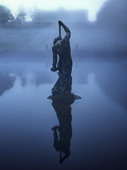 Neptune (www.forgottenheritage.co.uk) Tags: mist lake statue misty sunrise private dawn early property explore exploration beneath ue