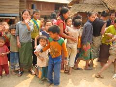Children Gathering to Wave Goodbye