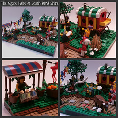 The Gypsie Faire of South Bend Shire - Willowstone Modular Countryside (jgg3210) Tags: tree castle wagon countryside cow lego bend south goat fair flags tent medieval campfire modular faire shire gypsy vignette gypsies gypsie moc minifigures galacia willowstone stillmoss