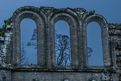 tripple arch (ginger_scallywag) Tags: xmas uk trees winter england lake tree tower abbey silhouette photoshop canon picnic dusk deer swans watergarden georgian fountains nationaltrust northeast stmaryschurch christmascake cs6 templeofpiety octagontower fountainshall eos40d moonpond tamron17300