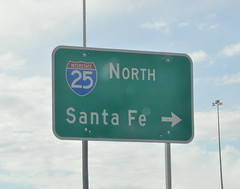 (Veee Man) Tags: sky newmexico santafe green sign clouds gimp albuquerque pole freeway arrow i25north nikond5000