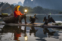 Wings (lycheng99) Tags: trees light sunset red man mountains nature lamp birds silhouette reflections river cormorants beard landscape lights liriver wings fisherman oldman cormorant raft karst bambooraft cormorantfishing cormorantfisherman ljing karstformation