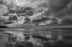 Changing Weather (Bud in Wells, Maine) Tags: summer bw monochrome clouds reflections coast maine atlantic kennebunk parsonsbeach