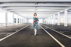 Parking (dawolf-) Tags: parking garage industrial empty space dress woman girl vanishing point naturallight portrait pose lines fashion urban