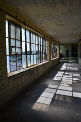 'Dixie Cup Factory' (miranda.valenti12) Tags: dixie cup factory windows light color colors stained glass reflection geometrical geometric sun sunlight leading lines abandoned building hallway