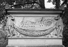 Remorque portee au glorieux - relief sculpture of ship and angels (Monceau) Tags: prelachaise cemetery paris relief sculpture ship glory blackandwhite