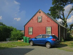 Red House (denizen8) Tags: landscape redhouse bluecar medford massachusetts 201407045617a denizen8