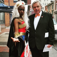 Comic Book Day Collectors Corner Charles Street (A.Currell) Tags: baltimore md may 7 2016 comic book day collectors corner charles street me with maki roll wonder woman touch storm