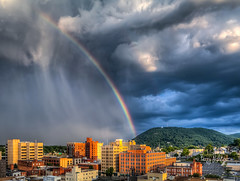 Summer Rainbow Roanoke Star Mill Mountain Explore! 8-1-2016 (Terry Aldhizer) Tags: rainbow summer roanoke star mill mountain city sky clouds rain showers storms july buildings blue ridge optic reflection terry aldhizer wwwterryaldhizercom