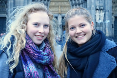 Best Friends (Colorado Sands) Tags: cologne germany europe girls women friends smiles happy scarves smiling frauen female femme females femmes cathedral youngladies woman cute attractive deutsch deutschland deustchland blueeyes blueclothes blue northrhinewestphalia rhineland people pair two younglady youngwomen babes sandraleidholdt sourires bff s wear portrait