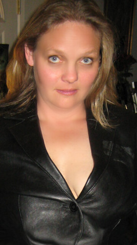 Blue Eyed Blonde in a Leather Jacket