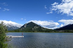 On the Pier (Patricia Henschen) Tags: vermilionlakes vermilion lakes banff alberta canada banffnationalpark national park canadian rockies northern mountains lake clouds rocky mountrundle drive roadside larch trees