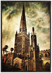 Day 273 of 366 - Coventry Cross and Holy Trinity Church! (editsbyjon) Tags: coventry phototoaster distressedfx stackables snapseed cortexcamera iphoneography iphone365 iphone texture skyline listedbuilding building architecture church outdoor photoborder