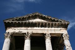 Temple of Augustus, Pula (enjosmith) Tags: croatia pula templeofaugustus blue sky columns stone roman building