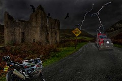 You know you said you've found me a cheap hotel for the night ! (bainebiker) Tags: bmwk1300s freightliner road abandondhouse ruins crows compositeimage hdr derelict pennal walesuk happyvallynorthwales