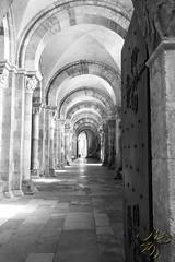 Bas-ct droit (Thierry Poupon) Tags: madeleine porte vzelay abbatiale noiretblanc ouverte perspective vote church side blackandwhite basilique basctdroit lumire