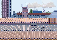 Roofs of Ramat Gan. Created by Photoshop, Oktober 2016