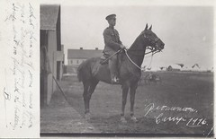 1916 Postcard View of a Soldier on his Horse near the Horse Stables at the Petawawa Training Camp, Ontario (Baseball Autographs Football Coins) Tags: petawawa camppetawawa petawawacamp militia militiatraining wwi ontario worldwarone cef fieldpostoffice cds fpo artillery artillerypracticecamp rcha royalcanadianhorseartillery