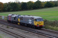 "56098 ""Lost Boys 68-88"" - 0Z56 - Harrowden Junction - 21-10-16 (techno-phobe) Tags: harrowdenjunction wellingborough midlandmainline mml northamptonshire class56 class37 tractor grid rog railoperationsgroup 0z56 37884 56098 lost lostboys6888"
