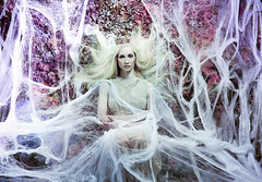 The Queen Awakes (Daniela Majic) Tags: pink white fashion princess fineart makeup queen elf fairy dreams crown conceptual blondehair webs secretgarden whimsical blueyes whitehair setdesign flowerwall fearie lacedress wallofflowers floralwall fairytalephotography danielamajicphotography fairyatles