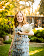 Girl & Chicken (melfoody) Tags: portrait chicken nature girl sunshine canon garden outdoor 85mm explore explored canon8512