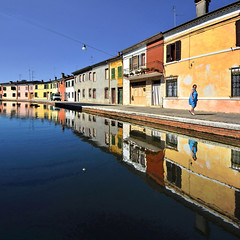 Hanging in the blue (Nespyxel) Tags: woman reflections vanishingpoint alone escape perspective pointofview hanging ferrara riflessi emiliaromagna prospettiva reflexes simmetry comacchio simmetrie simmetries nespyxel stefanoscarselli humanandgeometries