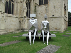 Sitting Couple on a Bench by Lynn Chadwick...view 1 (pefkosmad) Tags: uk summer england sculpture art public modern cathedral modernart exhibition gloucestershire gloucester gloucestercathedral lynnchadwick crucible2 crucibleexhibition sittingcoupleonabench