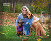 Woman with pet dogs (MarieDolphin.com) Tags: autumn ohio woman fall home dogs girl grass leaves lady scarf woods october bev oct large beverly sundance doberman rhodesianridgeback topaz middleage 2014 hyman bellbrook