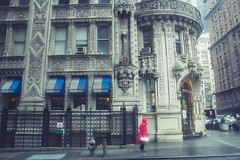 Lady in Red (moony: stupidly dreamy) Tags: nyc red newyork architecture lady overcast historic rainy bulding melancholic