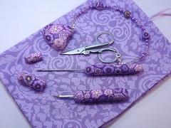 Handmade Sewers Tool Set (polymerclaycreations) Tags: purple handmade polymerclay roll handcrafted etsy awl holder seamripper scissorfob polymerclaycreations millefiorifloral angelahickey