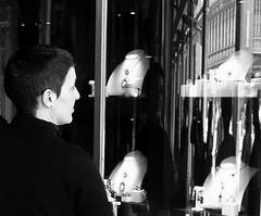 Window Shopping (trailrunner55) Tags: travel venice italy woman necklace brooch jewelry diamond shorthair windowdisplay windowshopping jewelers womansreflection womanwithshorthair