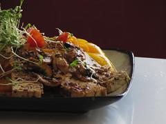(60% raw) beegan pumpkin spaghetti 3 (tarengil) Tags: red food orange plant green vegetables yellow vegan raw sweet rustic seeds vegetarian sprouts