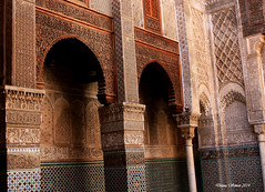The Madersa el-Attarine. Fez, Morocco (donnasimonviii) Tags: africa leather drum north morocco fez medina dying fes tannery the mederesa elattraine top20arches archesoftheworld mostbeautifularches intricatedetailedarches