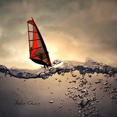 Glass Surfer (Aelin Quan) Tags: ocean sea mer water glass sepia photomanipulation vent eau surf wind surfer digitalart surfing bubble photomontage sail windsurfing voile windsurfer bulle verre windsurf planchevoile artdigital 150228 aelinquan