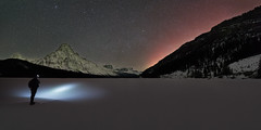 Red Aurora (Sandra Herber) Tags: winter snow canada night stars astrophotography alberta banff northernlights auroraborealis banffnationalpark selfie waterfowllake mountchephren