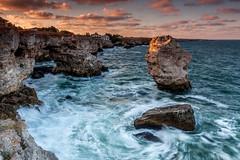 Tulenovo sunset () Tags: bridge blue sunset sea panorama cliff stone clouds photography coast rocks waves blacksea      tulenovo