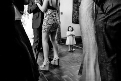 When you are 2 ... (Clicker ... Peter Duce Photography) Tags: toddler wedding bw monochrome dancing legs awe