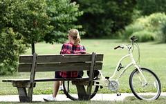 Biker Girl, Morton Arboretum. (EOS) (Mega-Magpie) Tags: people woman usa tree green girl grass bike america canon bench outdoors person eos illinois outdoor dupage arboretum il morton lisle the 60d
