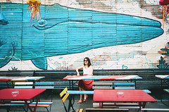 whale (Kathleen Vtr) Tags: summer portrait woman holiday streetart streets colors beautiful smile sunshine bar analog self 35mm kunst budapest explore canonae1 discover filmphotography estival kodakportra citytravel lovelyplace romkert