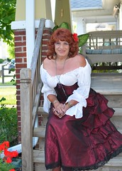 Satisfaction In Being A Woman (Laurette Victoria) Tags: woman costume auburn skirt blouse corset shoulders wench laurette