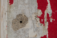Asbestos, mould and paint (Spannarama) Tags: red diy peeling paint panel stripped asbestos redpaint