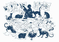 The boy who painted cats.... (Steering for North) Tags: silhouette blue white cats painting boy child brushes ink japanese folktale fairy tale illustration animals papers figurativeillustration