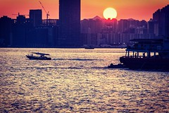 Everyday is a second chance... #makeitcount #HKLife   #pointsofconvergence (LyricalKnwledge) Tags: day night tranquility peace asia hongkong sunlight sun light harbor boats water blue orange sunset