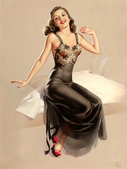 Oh! What a Beautiful Morning by Pearl Frush (Tom Simpson) Tags: pearlfrush pinup pinupart illustration vintage painting woman girl sexy boobs lingerie nightgown negligee