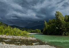 Approaching Thunderstorm (martincarlisle) Tags: thunderstorms mamquamriver massitercreek squamish britishcolumbia canada seatoskyhighway highway99 rivers trees clouds storms rocks pentaxk5 pentaxians pentaxart tamronlenses nwn twop
