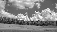 Clay Run Road Wind Turbines (Radical Retinoscopy) Tags: bw blackandwhite blackwhite monochrome canont6s canon1740 turbines wind windmill laurelhighlands ohiopyle pa pennsylvania clouds contrast polarizer