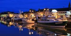 Port-en-Bessin-Huppain Calvados (letang.gilles) Tags: portenbessinhuppain calvados france bassenormandie nuit night thebluehour reflection effetmiroir village canon100d chalutier bateau