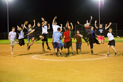Here's to a championship season.  Number 1! (Flickr_Rick) Tags: softball outside summer night jump jumping jumpology celebration winningseason champions